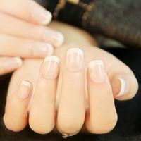 pontas de unhas elegantes venda por atacado-24 PCS Elegante Francês Manicure 3D falsos unhas falsas dicas Etiqueta com Cola