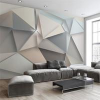 modern sanat duvar kağıtları toptan satış-Özel Fotoğraf Duvar Kağıdı 3D Modern TV Arka Plan Oturma Odası Yatak Odası Soyut Sanat Duvar Duvar Geometrik Duvar Kaplaması Duvar Kağıdı