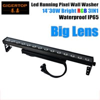 TIPTOP 14X30W Led Wall Washer Light Stage Building Cortina Efeito de lavagem RGB 3IN1 Lente grande de 25 graus LED Execução Individual TP-WP1430