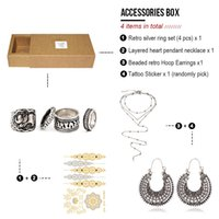 Wholesale Silver Hoop Choker - Accessories Jewelry Box Pack of 4 Items Silver retro carved Ring Set+Necklace Choker+Hoop Earrings+Waterproof Tattoo Sticker