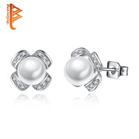 Wholesale Earrings Fashion New Arrival - BELAWANG New Arrival Simulated Pearl Stud Earrings Silver Alloy Cubic Zircon Earrings Fashion Jewelry for Christmas Day Gift Free Shipping
