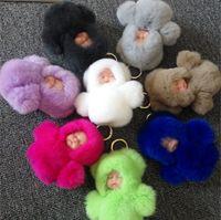 Wholesale Real Doll Faces - Fashion Cute 21CM Sleeping Baby Doll Key Chain Rex Rabbit Fur Keychain Woman Fluffy Real Fur Pom Pom Car Keyring Women Toy Gift