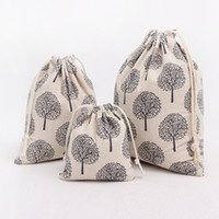 Wholeslae Candy Gift Sacks Tree Printed Drawstring Pouches para a Páscoa de alta qualidade String Bolsas de lona Pocket Jewelry Bag