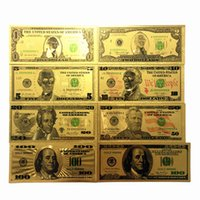 Wholesale Double Foil - 8Pcs Lot 24K Gold Commemorative Banknotes New Dollar Bills Double Currency Gifts American Gold Foil Dollars Collection Decoration