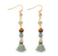 Wholesale Brass Glass Chandelier - New Trendy Beaded Tassel Earrings For Women Colorful Wooden Glass Beads Stone Drop Earrings Dangle Earring Handmade Jewelry Gift E007
