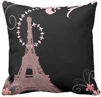 """Wholesale Paris Chic - Throw Pillow Case shabby chic french country pink paris eiffel tower Square Sofa Cushions Cover, """"16inch 18inch 20inch"""", Pack of X"""