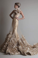 Wholesale Dress Feathered Shoulders - gold illusion overskirt mermaid wedding dresses 2017 krikor jabotian one shoulder rustic hand flower chapel train