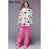 Wholesale Womens Skiwear - Wholesale- Gsou snow womens ski suit female white with colourful polka dots jacket and pink ski pants suit ladies snowboarding suit skiwear