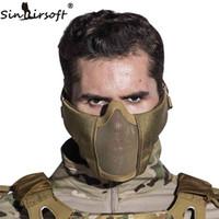 ingrosso maschere tattiche di metallo-SINAIRSOFT Tactical Maschera prop Casco metà inferiore del metallo del fronte d'acciaio netto di caccia di protezione per Paintball Partito Maschera CS