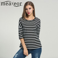 Wholesale Loose Fitting Tops For Women - Wholesale- Meaneor Women Striped T-shirt 2017 Summer 3 4 Batwing Sleeve Black White Tops Casual O-Neck Tshirts For Women Loose Fit Top Tee