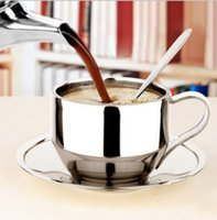 Wholesale Tea Cup Saucer Sets Wholesale - 201-300ml high quality coffee and tea sets steel cup saucer and spoon set stainless steel double wall coffee mugs