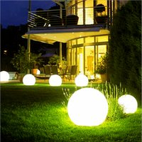 Wholesale Outdoor Remote Switch - Wholesale- 60cm Rechargeable Cordless Outdoor LED Lighted Lawn Ball Color Changing Plastic Remote Control Sphere vanity lights
