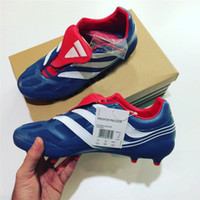 Wholesale Narrow Boots - New Predator Precision FG Soccer Limited Edition Blue Champions League Beckham Mania Soccer Football Boots Size US6.5 7.5 9 10.5 11.5