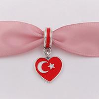 rote perlen für halskette großhandel-925 Silber Perlen Türkei Herz Flagge Rot Weißer Emaille Passend für Europäische Pandora Style Armbänder Halskette für Schmuckherstellung