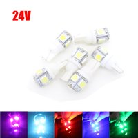 Wholesale Universal Yellow Fog Lights - 1X Car bulbs 24V 12V 6.3v 6v T10 5 5050 LED 5W5 Wedge Marker Lamps Door DRL License Plate Lights Clearance W5W Pathway Lighting Turn Signals