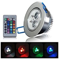 Wholesale Spot Led Ir - 3W RGB colorful LED Ceiling Downlight Recessed Cabinet Spot Light Bulb +IR Remote Controller Downlight lighting