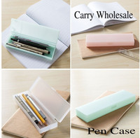 Wholesale Pencil Box Small Wholesale - Wholesale-Free Shipping 10pieces lot Pure Color Small pocket Multi-function Creative Scrub Plastic Pen Pencil Case Box