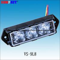 Wholesale Bulb 36mm 3w - VS-9L8 LED car Grill Lights, CREE 3W LED, 15 flash pattern, LED surface mount Strobe Warning Flashing Light, waterproof IP68