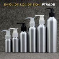 bombas de aluminio botellas al por mayor-Al por mayor de 7 tamaños vacíos loción de metal botellas de aluminio bomba de crema de cuidado de la piel de plata contenedores botella de la bomba champú, cosméticos DIY botellas