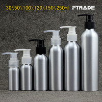 garrafas de bombas de alumínio venda por atacado-Atacado-7 tamanhos de metal Vazio loção creme bomba de alumínio frascos de garrafa de bomba de cuidados com a pele de prata shampoo bomba, DIY cosméticos frascos