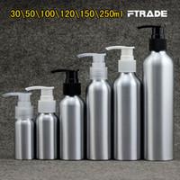 bouteilles à pompe pour shampooing achat en gros de-Vente en gros - 7 tailles Vide métal lotion crème pompe bouteilles en aluminium soin de la peau argent shampooing pompe bouteille conteneurs, bouteilles de cosmétiques DIY