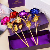 Wholesale gold plating supplies resale online - Artificial Flowers With Gold Foil Plated K Rose Flower Creative Anti Wear Wedding Supplies Hot Sale ag B R