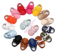Wholesale Barefoot Soles - Pu Leather Baby Strappy Shoes Infant Soft Rubber Sole Tassel Kids Boys Girls Newborn Toddler Boys Girls Prewalker Barefoot Footwear New