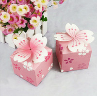 Wholesale Cherry Blossom Wedding Favor Boxes - 100pcs Cherry blossoms Flower Candy Box Chocolates Boxes For Wedding Engagemant Party Baby Shower Favor Gift