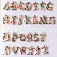 Wholesale Number Plate Stickers - KC gold Drop oil 26 alphabet Letters alloy pendant bracelet pendant DIY hair accessories phone stickers XZ48