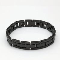 sağlıklı manyetik bilezik toptan satış-1 ADET moda trendi 14mm çift sıralı manyetik elektrik altın siyah sağlıklı erkekler arasında titanyum çelik bilezik