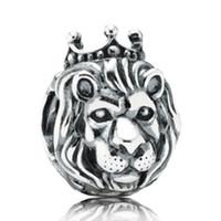 silberner löwenschmuck großhandel-Silber European Lion Head Wecker Herz großes Loch Charms Perlen Fit Original Armband Halskette Schmuck Zubehör