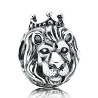 Wholesale Clock Beads - Silver European Lion Head Alarm Clock Heart Big Hole Charms Beads Fit Original Bracelet Necklace Jewelry Accessories