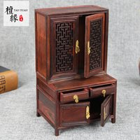 Wholesale Antique Red Cabinet - Red woody Crafts Decoration Antique miniature small furniture model High and low cabinet Rosewood 12x9x20.5cm