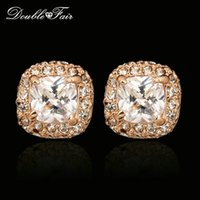 Wholesale Gold Diamond Cut Earrings Stud - Classic CZ Diamond Stud Earrings For Women Square Cut CZ Stone Fashion Silver Color 18K Rose Gold Plated Wedding Jewelry Crystal DFE043