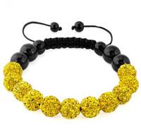 Wholesale Disco Drill Bracelets - 11mm beads 10mm color mud ball shamballa soft pot drill ball woven disco crystal beads yellow bracelet.