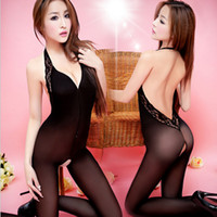 Wholesale Crotchless Sexy Tights - Wholesale- Women Sexy crotchless Tights zentai Lace Bodystocking For Women One Piece Halter Open Crotch bodysuit combinaison pantalon femme