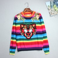 Wholesale Sweater Rainbow Woman - Top Rainbow Striped Pullovers Women 2017 Autumn Long Sleeves Tiger Flowers Embroidery Women's Sweaters Pull Femme DH054