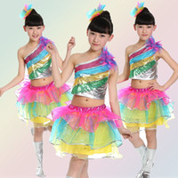 Wholesale latin dance costumes online - 2017 New Arrivel Girl Oblique Sequins Colofull Skirt Latin Ballet Stage Costume Dance Wear Children Performance Clothing