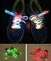 Wholesale Wholesale Shoe Lace Charms - 2017 hot Flashing Shoe Lace Fiber Optic Shoelaces Luminous Shoe Laces Light Up Flash Glowing Shoeslace 7 Colors For Choose From