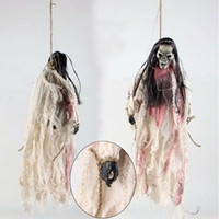 Wholesale horror haunted house - Wholesale-Halloween toy Small hanging ghost Halloween horror Funny electric toy Haunted House Bar Decorations Voice hanging ghost skeleton