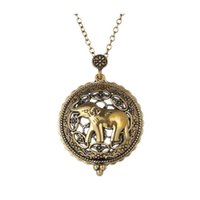Wholesale long elephant necklace - Symbol Elephant Necklace Gold Plated Antique Design Lovely Locket Necklace Long Gold Chain Fashion Jewelry 16N0327
