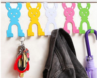 Wholesale Metal Hooks For Clothes - Rabbit Hook Door Hanger Door Hangers for Clothing Cartoon Creative Home Organizer Animal Shaped Hooks for Bags Hat Rack