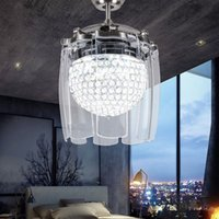 Wholesale Modern Ceiling Fan Lighting Fixtures - Modern Fashion 42 Inch Crystal Ceiling Fans With Lights Folding Chrome Fan Chandelier for Living Room Invisible Ceiling Lighting Fixture