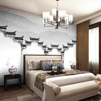 stoff fotopapier großhandel-Benutzerdefinierte Foto Wand Papier Moderne Einfache Klassische tempel malerei Weiß TV Hintergrund Wandbild Vlies Tapete Für Schlafzimmer