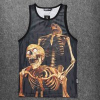 Wholesale Sexy Skull Tank Tops - Wholesale- New Arrival Skull Design Men Tank Tops Mesh Vests Black Polyester Round Neck Singlets Contrast Color on Shoulder and Neck