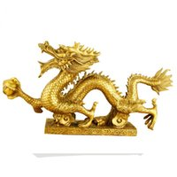 Wholesale Chinese Figurines Statues - Chinese brass Dragon figurine Statue home decoration