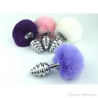 Wholesale Sex Bunny Tail - Sex Pony Play Toy Metal Spiral Anal Plug Bunny Tail Ribbed Butt Inserts Pink Purple White BDSM Gear Fetish Sexy Costume