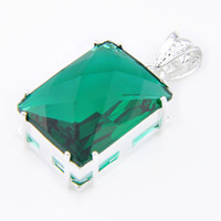 Wholesale Gemstone Pendant 925 Silver - 2PCS LOT Classic Square Fire Green Quartz Gemstone 925 Sterling Silver Pendants for Necklaces Holiday Gift