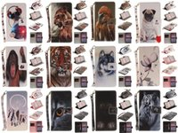 Wholesale Lion Wallets - Wolf Owl Tiger Lion Dog Monkey Painted Cover PU Leather Wallet Card slot Stand Case For Huawei Honor 8