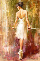 Wholesale Handpainted Shoes - Framed Andrew Atroshenko - Ballet girl put on shoes,Pure Handpainted Romantic Portrait Art Oil Painting On Thick Canvas Multi Sizes Ab086